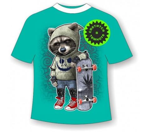 Подростковая футболка Енот в капюшоне