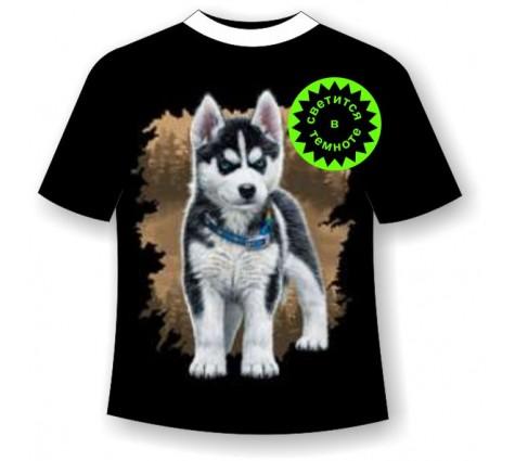 Подростковая футболка Хаски щенок