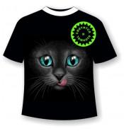 Подростковая футболка Кошка с языком 1047