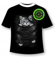 Подростковая футболка Котенок рвет футболку 1108