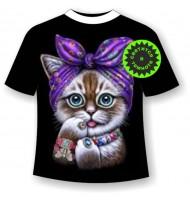 Подростковая футболка Котенок в косынке