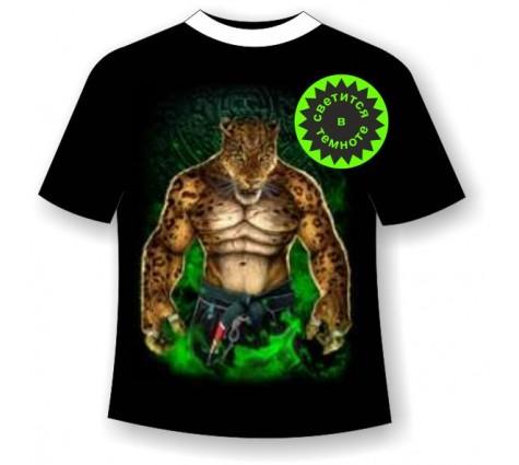 Подростковая футболка Леопард воин