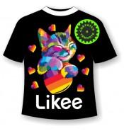 Подростковая футболка Лайки котенок неон