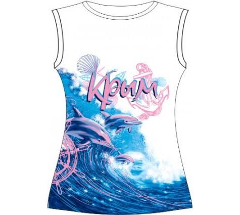 Подростковая футболка Розовые дельфины