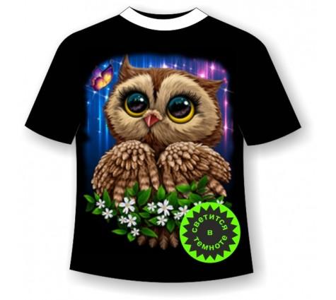 Подростковая футболка Сова сияние
