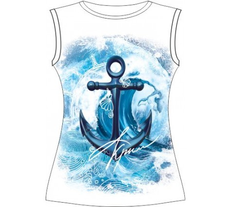 Подростковая футболка Якорь-волна