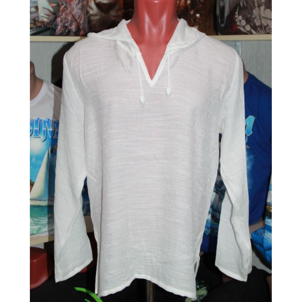 белая летняя рубашка с капюшоном