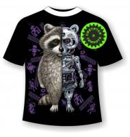 Подростковая футболка Енот робот 1192