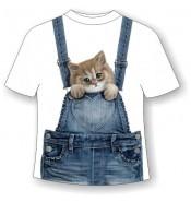 Подростковая футболка Котенок в кармашке