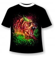 Подростковая футболка Медведь брызги светящаяся в темноте
