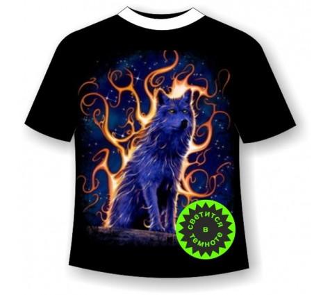 Подростковая футболка Волк пламя
