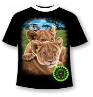 Подростковая футболка со львятами светящаяся в темноте