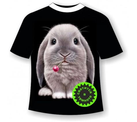 Подростковая футболка с кроликом светящаяся в темноте