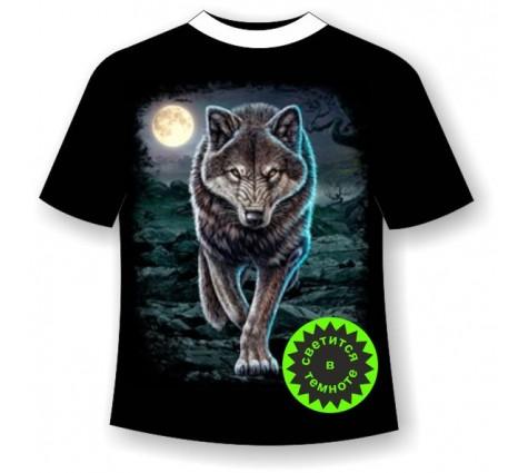 Подростковая футболка Крадущийся волк светящаяся в темноте