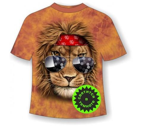 Подростковая футболка Лев клубный ММ светящаяся в темноте