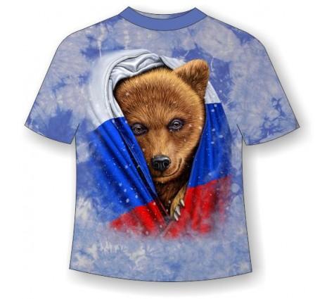 Подростковая футболка Медведь во флаге