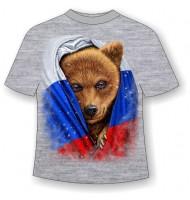 Подростковая футболка Медведь во флаге 808 (LM)