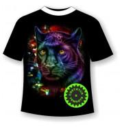 Подростковая футболка Пантера в блестках 849
