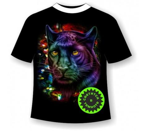 Подростковая футболка Пантера в блестках светящаяся в темноте