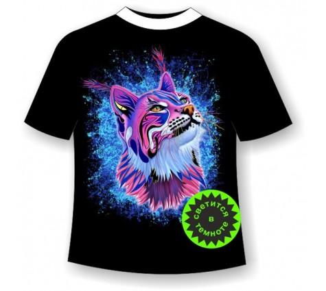 Подростковая футболка Рысь светящаяся в темноте