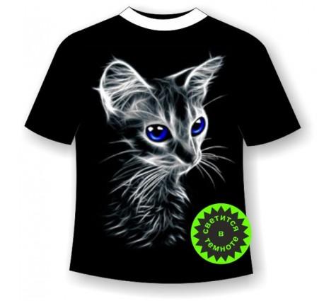 Подростковая футболка с котенком светящаяся в темноте