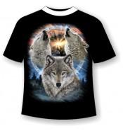 Подростковая футболка Три волка 917