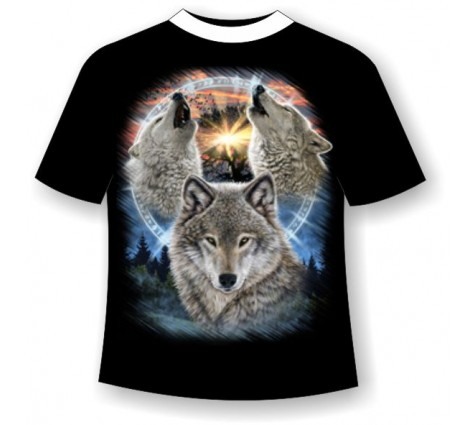Подростковая футболка Три волка светящаяся в темноте