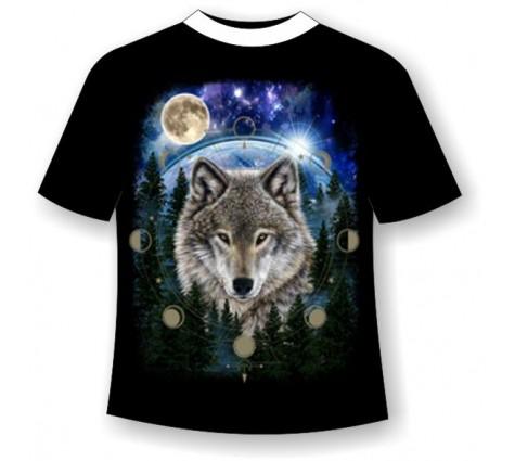 Подростковая футболка Волк и фазы луны светящаяся в темноте