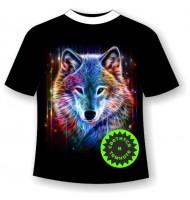 Подростковая футболка Волк сияние светящаяся в темноте