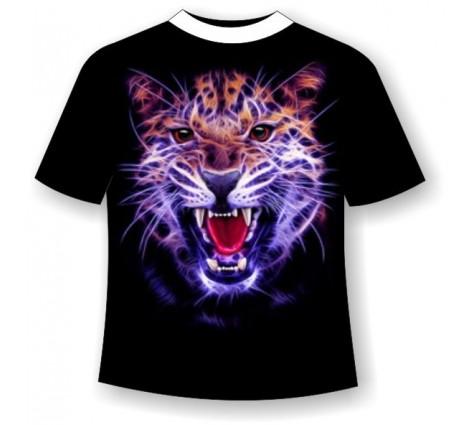 Подростковая футболка Ягуар злой светящаяся в темноте