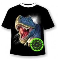 Подростковая футболка Динозавр светящаяся в темноте
