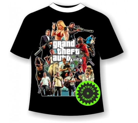 Подростковая футболка GTA светящаяся в темноте