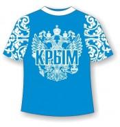 Подростковая футболка хохлома Крым бирюза