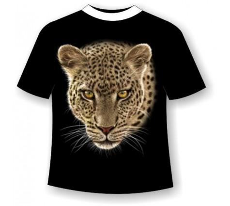 Подростковая футболка леопард светящаяся в темноте