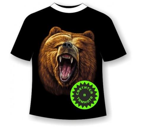 Подростковая футболка с медведем светящаяся в темноте