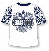 Подростковая футболка Севастополь хохлома синяя