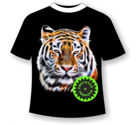 Подростковая футболка Тигр светящаяся в темноте