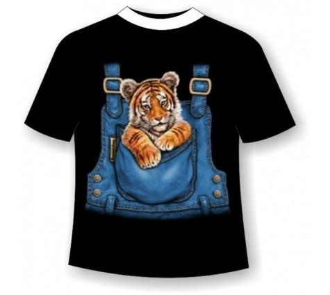 Подростковая футболка тигренок в кармане