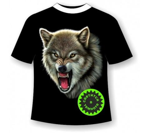 Подростковая футболка Волк светящаяся в темноте