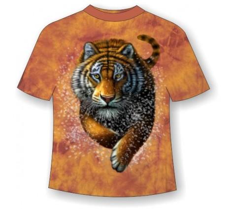 Подростковая футболка с бегущим тигром ММ 795