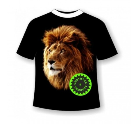 Подростковая футболка Лев светящаяся в темноте