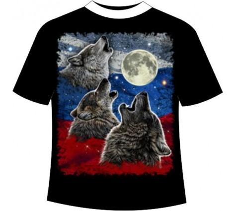 Подростковая футболка Волк на флаге №688