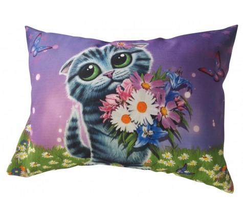 Подушка Котенок с цветами