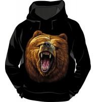 Толстовка с капюшоном Медведь светящаяся в темноте