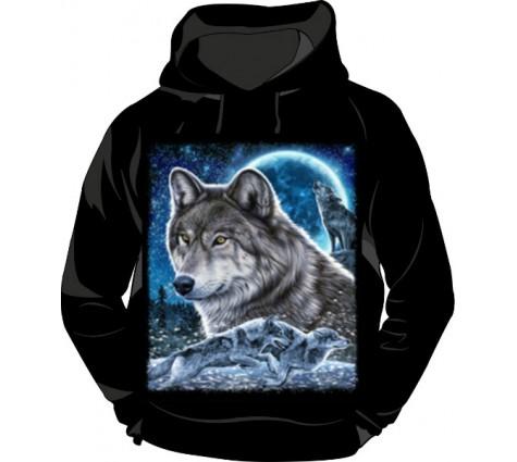Толстовка с капюшоном Волк светящаяся в темноте