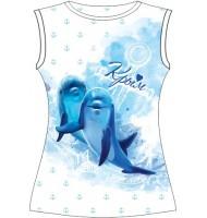 Женская футболка Дельфин акварель
