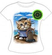 Женская футболка Кот морячок 954