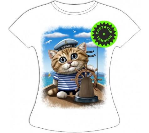Женская футболка Кот морячок
