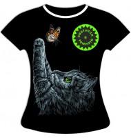 Женская футболка Котенок с бабочкой