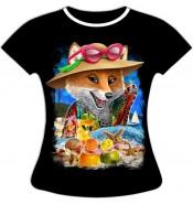 Женская футболка Лиса на пляже 973